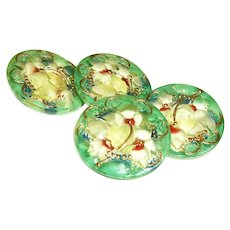 Vintage Glass Buttons, Reverse Painted Yellow & Green Floral Set of 4