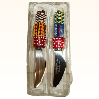 Christopher Radko Holiday Cheese & Pate Spreading Knives Set of Two