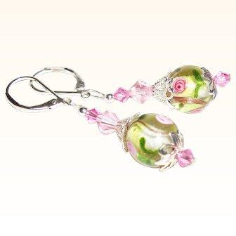 Artisan Watercolor Garden Silver-Foil Lampwork  & Swarovski Earrings