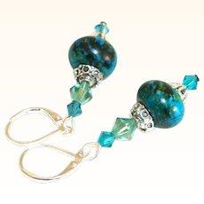 Artisan Chrysocolla Rondelles and Swarovski Crystals Earrings