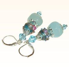 Artisan Amazonite & Aqua Venetian Lampwork Earrings