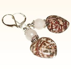 Artisan Rustic and Refined Genuine Jasper Hearts with Rose Quartz Earrings