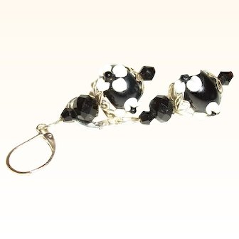 Artisan Black & White Glass and Crystals Earrings