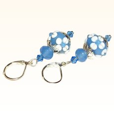 Artisan Blue & White Glass Rondelles & Crystals Earrings