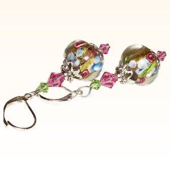 Artisan 24K Gold-& Silver Foil Lampwork and Swarovski Crystal Earrings