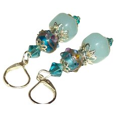 Artisan Amazonite & Aqua Venetian Lampwork Earrings