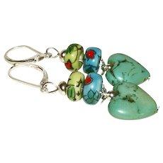 Artisan Genuine Turquoise Hearts & Flowers Earrings3