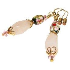 Artisan Rose Quartz and Cloisonne Earrings