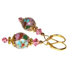 Artisan Pink Cloisonne and Swarovski Crystals Earrings