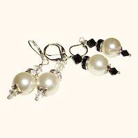 Artisan Faux Pearls & Rhinestones Swarovski Crystals Earrings, Set of Two Pair