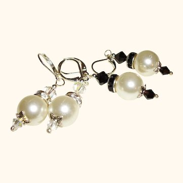 Artisan Faux Pearls and Rhinestones Swarovski Crystals Earrings, Set of Two Pair