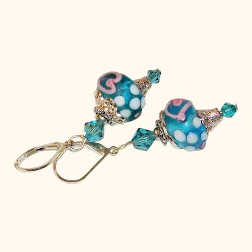 Artisan Blue-Green Art Glass Earrings