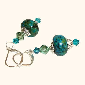 Artisan Chrysocolla Roundel and Swarovski Crystals Earrings