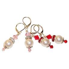 Artisan Red & Pink Swarovski & Faux Pearls Earrings, Two Pair
