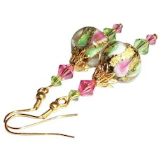 Artisan 24K Gold Foil Lampwork Earrings