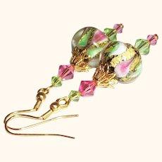 Artisan 24K Gold Foil Lampwork Earrings