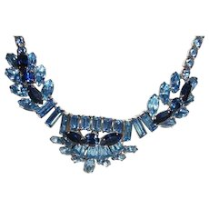 Vintage SHERMAN Classic Blue Sparkle Necklace