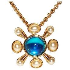 Vintage Kenneth J Lane Romanesque Interchangeable Pendant Necklace