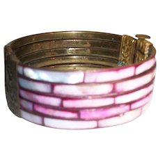 Vintage 1920's Mother of Pearl and Natural Brass Tube and Slide Bracelet
