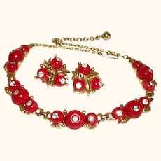 Vintage Red Hot & Rhinestones Necklace and Earrings Set