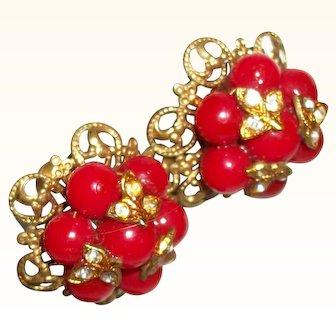 Vintage Bright Red Glass & Rhinestones Clusters Earrings