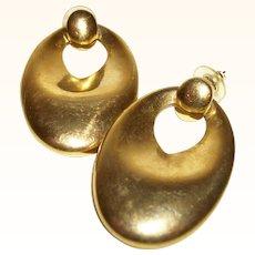 Vintage 1960's Brass Door-Knocker Hoops Earrings