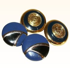 Vintage Blues #2 Set of Two Pairs Pierced Earrings with KJL Rounds