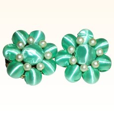Vintage Satin Wrapped Beads Clip Earrings