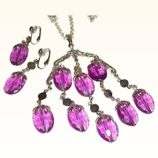 Vintage Faceted Acrylic Pendant Necklace & Earrings Set