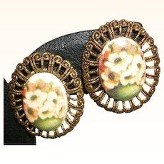 Vintage Decoupage Porcelain Cabochon Earrings