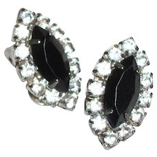 Vintage Tiny Sparklers Faceted Black Crystals Clip Earrings