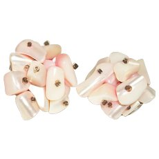 Vintage Pink Mother Of Pearl Nuggets Cluster Earrings