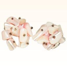 Vintage Pink Mother Of Pearl Nuggets Cluster Earrings