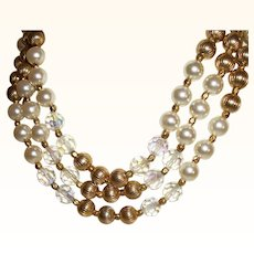 Vintage 3-Strand Simulated Faux Pearls, Plated Beads & Crystals Necklace