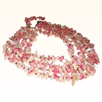 Vintage Four-Strand Mother of Pearl Nuggets & Glass Necklace