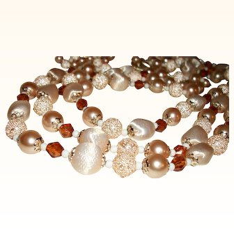 Vintage Peachy-Keen Lucite & Glass 3-Strand Necklace & Earrings