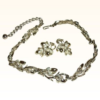 Vintage Coro Shiny Silver Articulating Link Necklace & Earrings