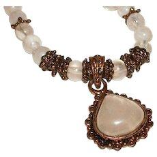 Vintage Rose Quartz Pendant and Glass Beads Necklace