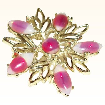 Vintage Pink Ombre Glass Open-work Pin/Brooch