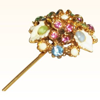 Vintage Mixed Crystals and Glass Lapel Stick Pin