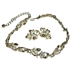 Vintage Coro Shiny Silver-Plated Links Necklace & Earrings Set