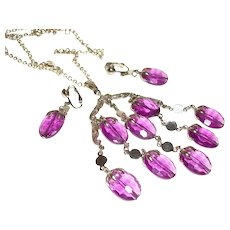 Vintage Sarah Coventry Wisteria Pendant Necklace and Earrings Set