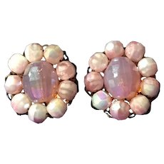 Vintage Pink Faceted Lucite and Glass Earrings