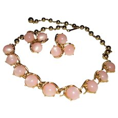 Vintage Pink Moonglow Thermoset Necklace and Earrings Set
