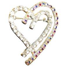 Vintage Rhinestones Double Heart-Shaped Pin / Brooch