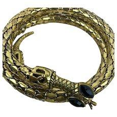 Vintage Triple Wrap Textured Snake Bracelet