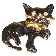 Vintage Black Cat with Crystal Eyes Pin/Brooch
