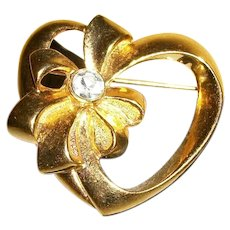 Vintage Gold-Plated Heart Pin / Brooch