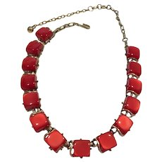 Vintage Mid-Century Red Thermoset Squares Necklace and Earrings Set