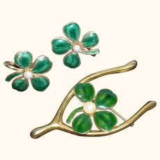 Vintage Lucky 4-Leaf Clover & Wishbone Figural Pin and Earrings Set